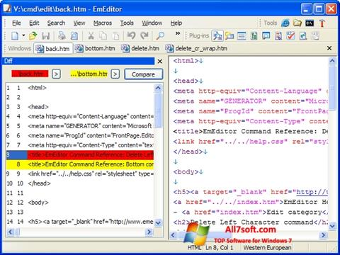 Captura de pantalla EmEditor para Windows 7