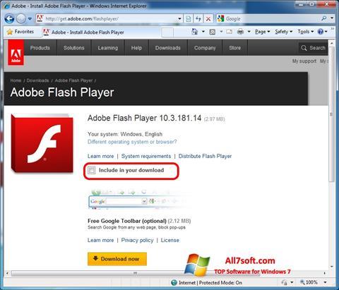 Captura de pantalla Adobe Flash Player para Windows 7