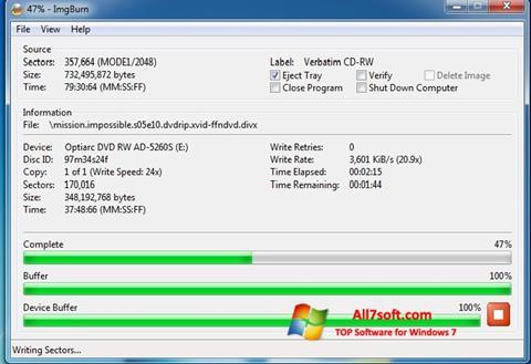 Captura de pantalla ImgBurn para Windows 7