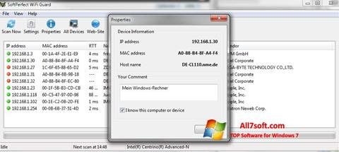 Captura de pantalla SoftPerfect WiFi Guard para Windows 7
