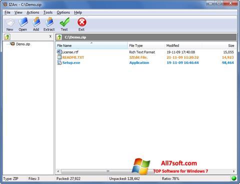 Captura de pantalla IZArc para Windows 7