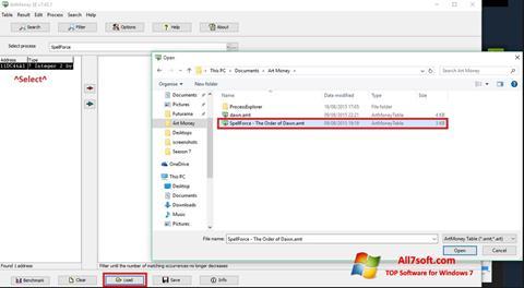 Captura de pantalla ArtMoney para Windows 7