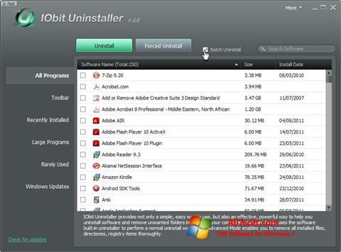 Captura de pantalla IObit Uninstaller para Windows 7