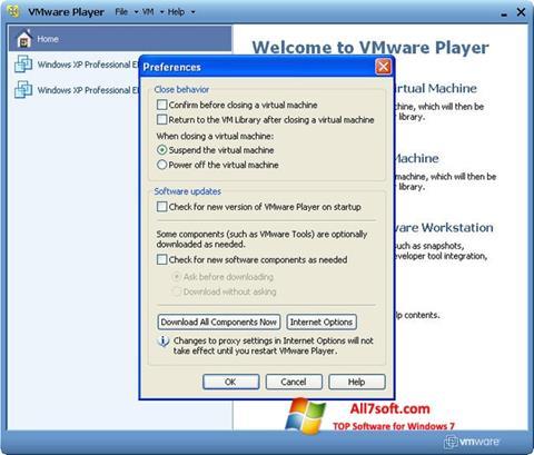 Captura de pantalla VMware Player para Windows 7