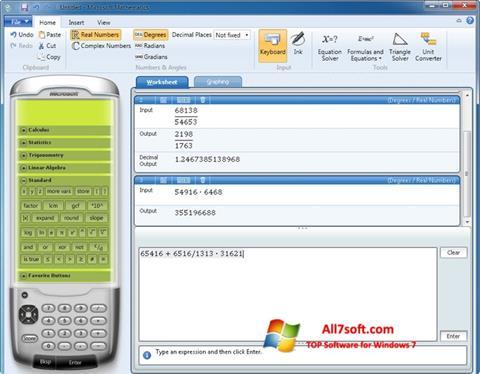 Captura de pantalla Microsoft Mathematics para Windows 7