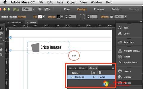 Captura de pantalla Adobe Muse para Windows 7