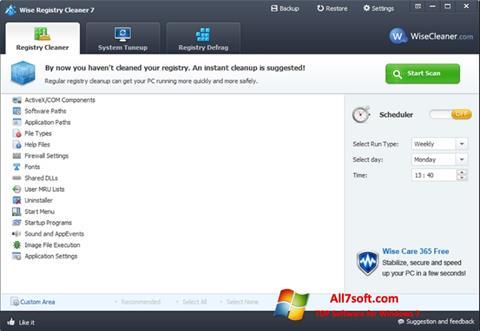 Captura de pantalla Wise Registry Cleaner para Windows 7