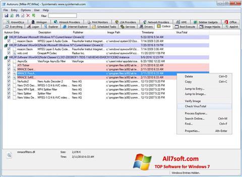 Captura de pantalla AutoRuns para Windows 7