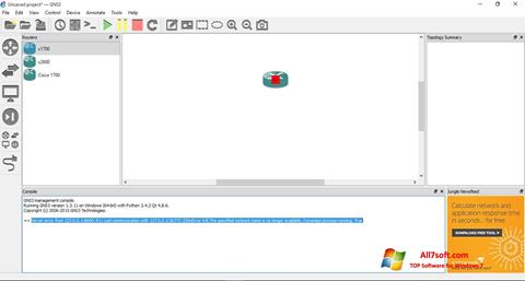 Captura de pantalla GNS3 para Windows 7