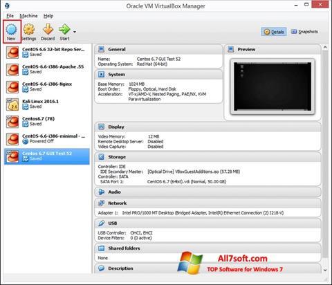 Captura de pantalla VirtualBox para Windows 7