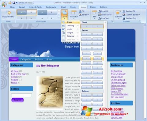 Captura de pantalla Artisteer para Windows 7