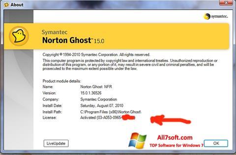 Captura de pantalla Norton Ghost para Windows 7