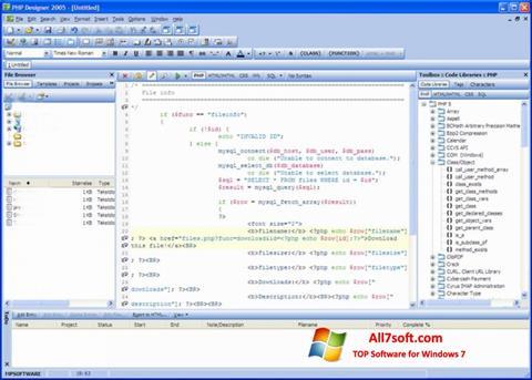 Captura de pantalla phpDesigner para Windows 7