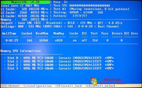 Captura de pantalla MemTest para Windows 7