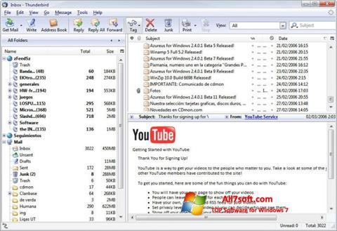 Captura de pantalla Mozilla Thunderbird para Windows 7