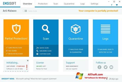 Captura de pantalla Emsisoft Anti-Malware para Windows 7