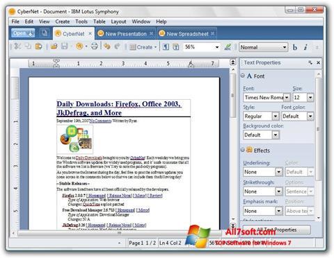 Captura de pantalla Lotus Symphony para Windows 7