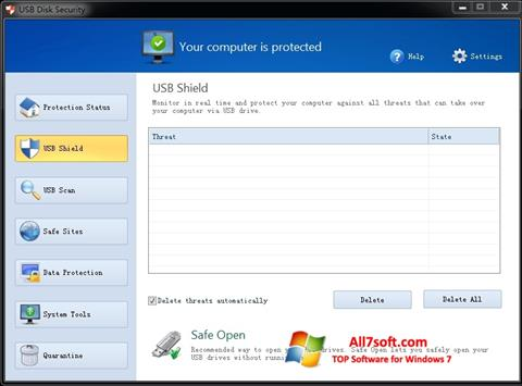 Captura de pantalla USB Disk Security para Windows 7