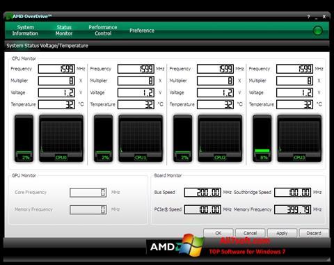 Captura de pantalla AMD Overdrive para Windows 7