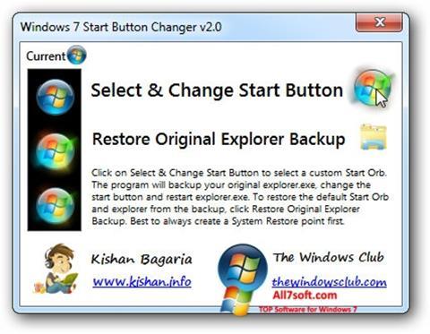 Captura de pantalla Windows 7 Start Button Changer para Windows 7
