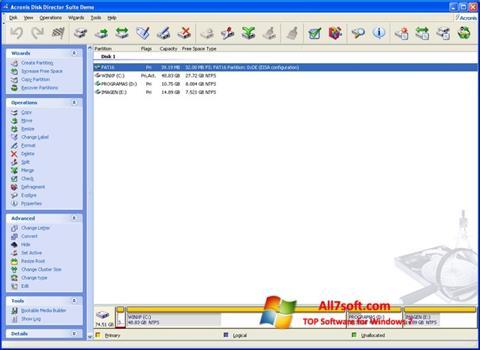 Captura de pantalla Acronis Partition Magic para Windows 7