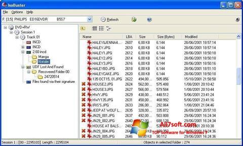 Captura de pantalla IsoBuster para Windows 7