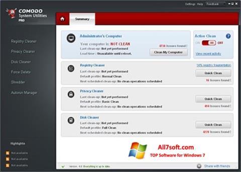 Captura de pantalla Comodo System Utilities para Windows 7